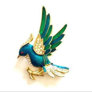 Vintage Gold and Enameled Bird on Branch Brooch